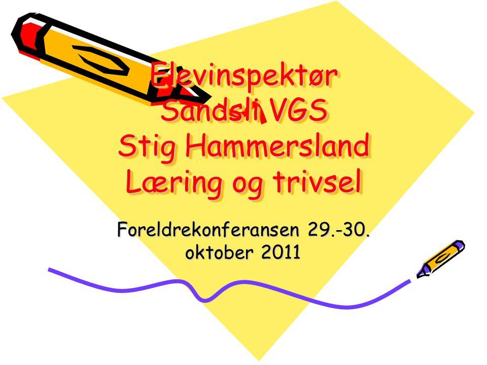 Elevinspektør Sandsli VGS Stig Hammersland Læring og trivsel Foreldrekonferansen 29.-30. oktober 2011