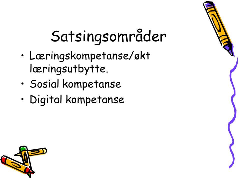 Satsingsområder Læringskompetanse/økt læringsutbytte. Sosial kompetanse Digital kompetanse