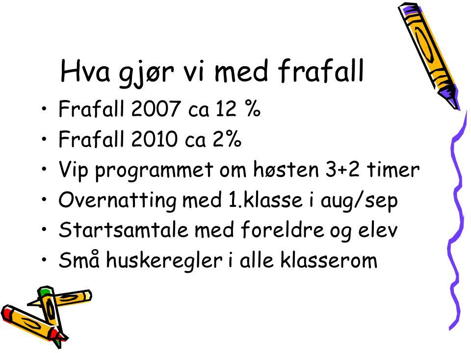 Hva gjør vi med frafall Frafall 2007 ca 12 % Frafall 2010 ca 2% Vip programmet om høsten 3+2 timer Overnatting med 1.klasse i aug/sep Startsamtale med