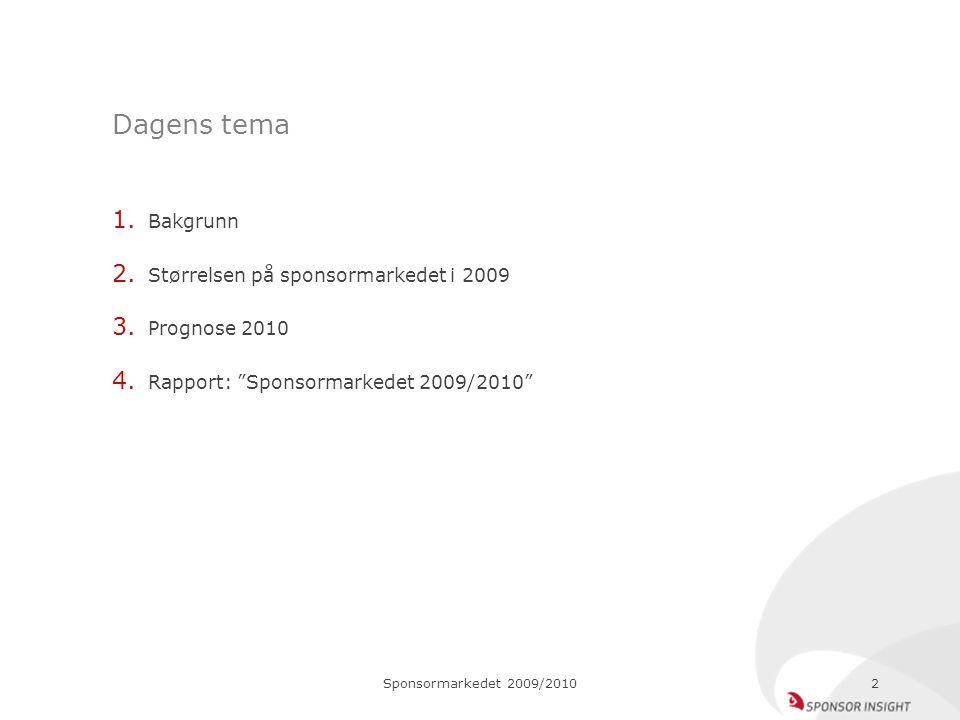 """Sponsormarkedet 2009/20102 Dagens tema 1. Bakgrunn 2. Størrelsen på sponsormarkedet i 2009 3. Prognose 2010 4. Rapport: """"Sponsormarkedet 2009/2010"""""""