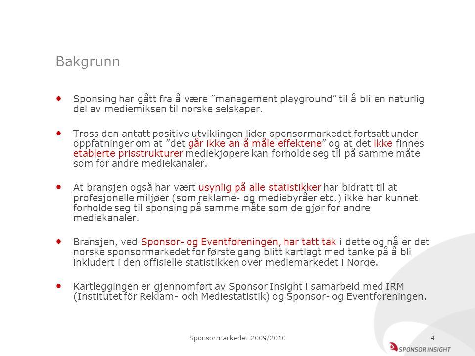 """Sponsormarkedet 2009/20104 Bakgrunn Sponsing har gått fra å være """"management playground"""" til å bli en naturlig del av mediemiksen til norske selskaper"""