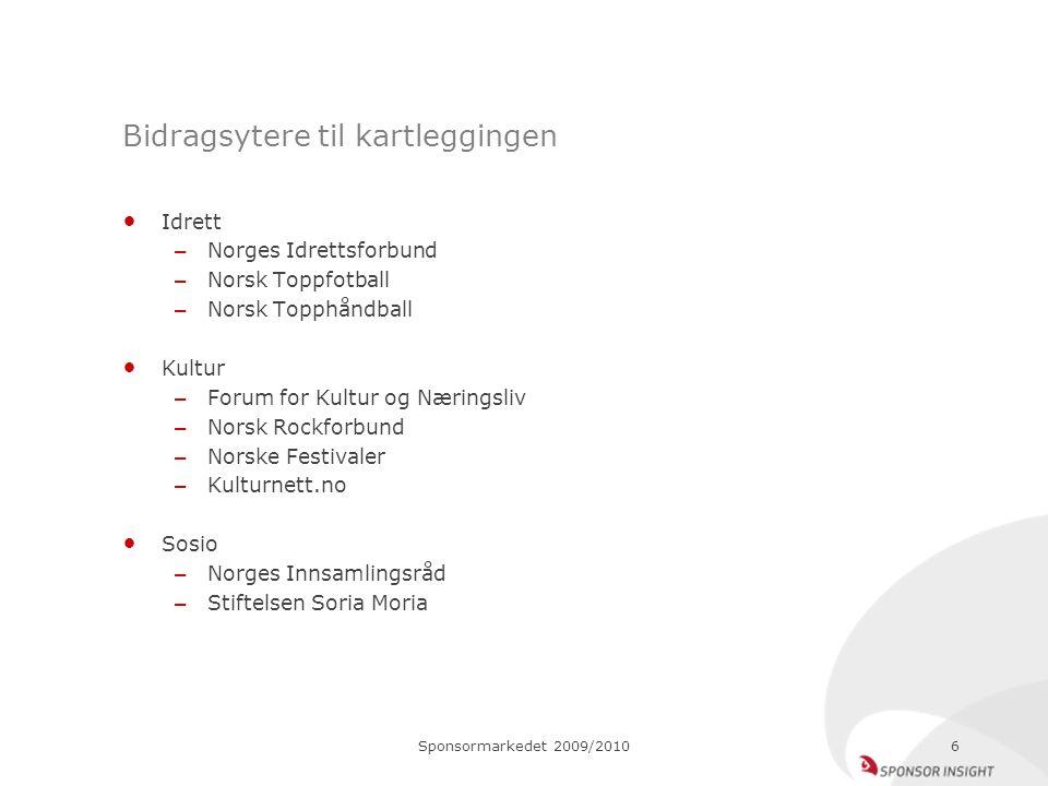 Sponsormarkedet 2009/20106 Bidragsytere til kartleggingen Idrett – Norges Idrettsforbund – Norsk Toppfotball – Norsk Topphåndball Kultur – Forum for K