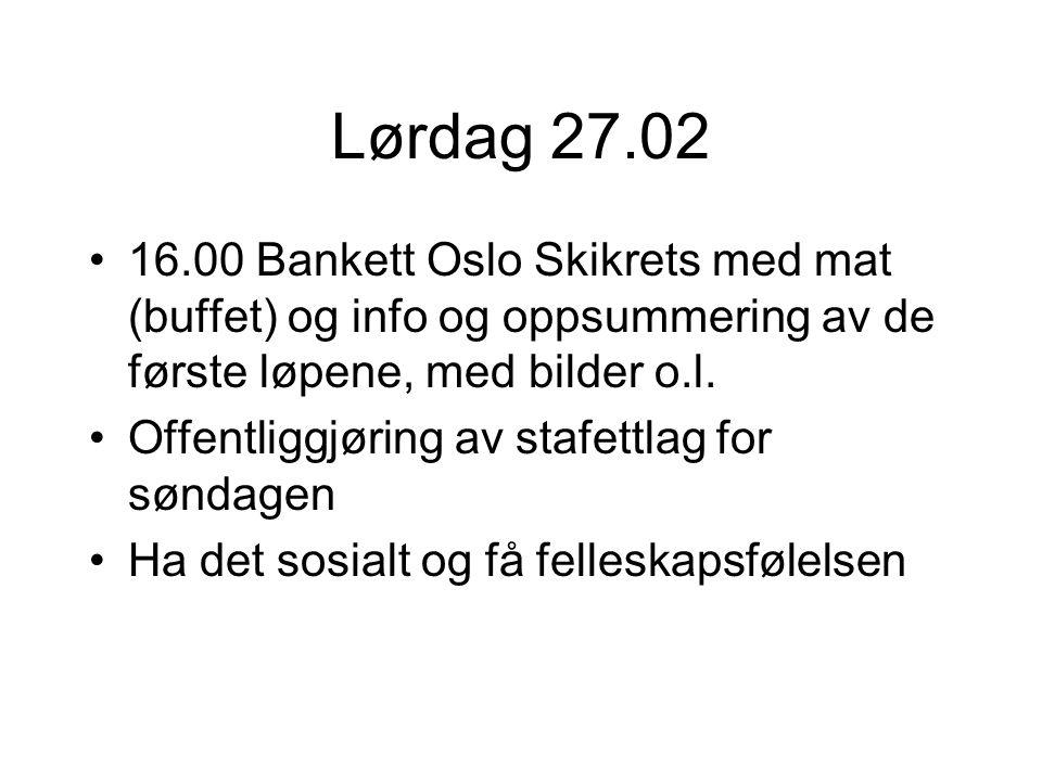 Lørdag 27.02 16.00 Bankett Oslo Skikrets med mat (buffet) og info og oppsummering av de første løpene, med bilder o.l.