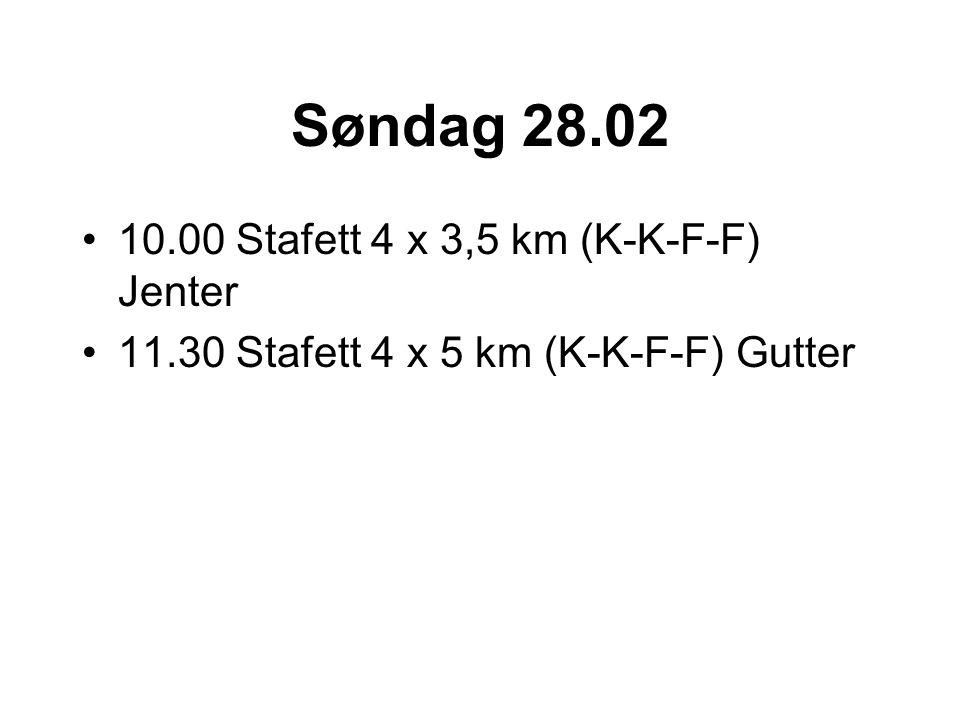 Søndag 28.02 10.00 Stafett 4 x 3,5 km (K-K-F-F) Jenter 11.30 Stafett 4 x 5 km (K-K-F-F) Gutter