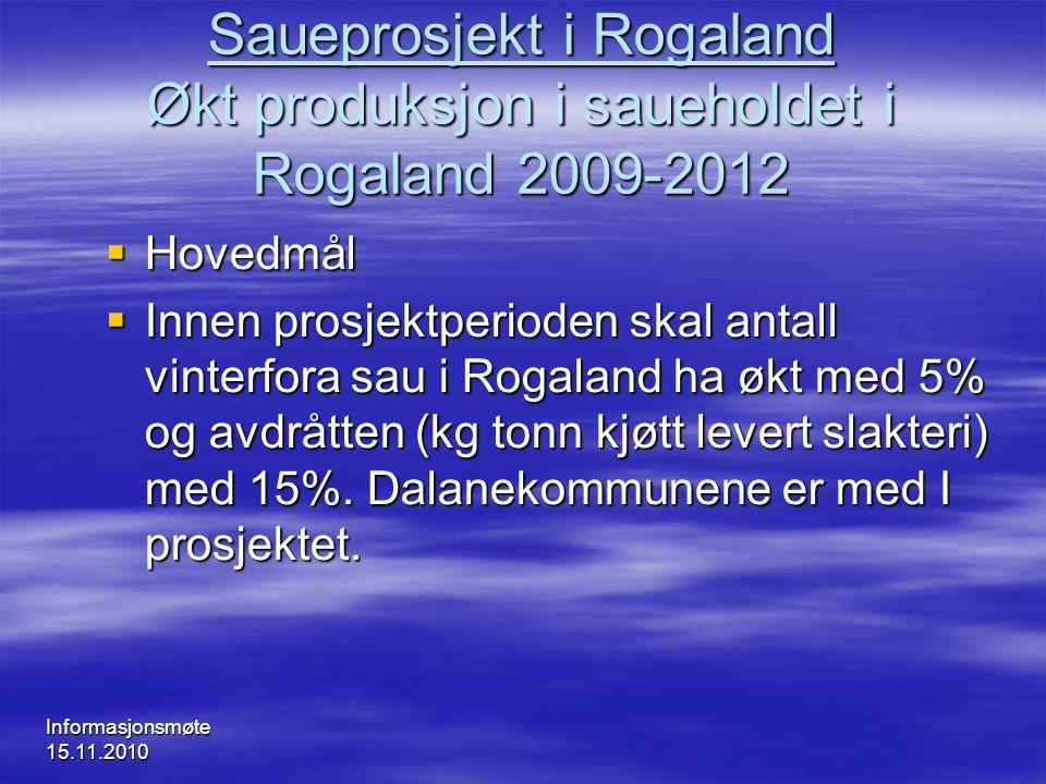 Informasjonsmøte 15.11.2010 Saueprosjekt i Rogaland Økt produksjon i saueholdet i Rogaland 2009-2012  Hovedmål  Innen prosjektperioden skal antall v