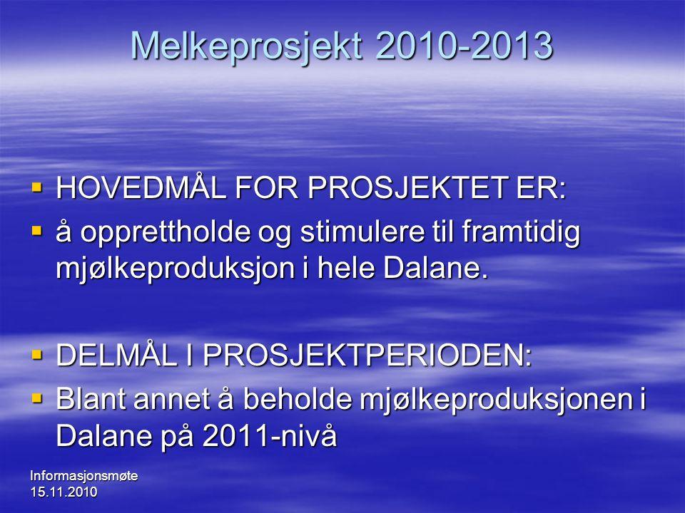 Informasjonsmøte 15.11.2010 Melkeprosjekt 2010-2013  HOVEDMÅL FOR PROSJEKTET ER:  å opprettholde og stimulere til framtidig mjølkeproduksjon i hele