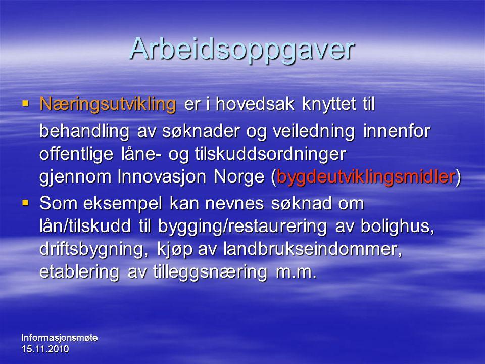 Informasjonsmøte 15.11.2010 Arbeidsoppgaver  Næringsutvikling er i hovedsak knyttet til behandling av søknader og veiledning innenfor offentlige låne