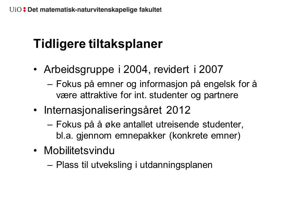 Tidligere tiltaksplaner Arbeidsgruppe i 2004, revidert i 2007 –Fokus på emner og informasjon på engelsk for å være attraktive for int. studenter og pa