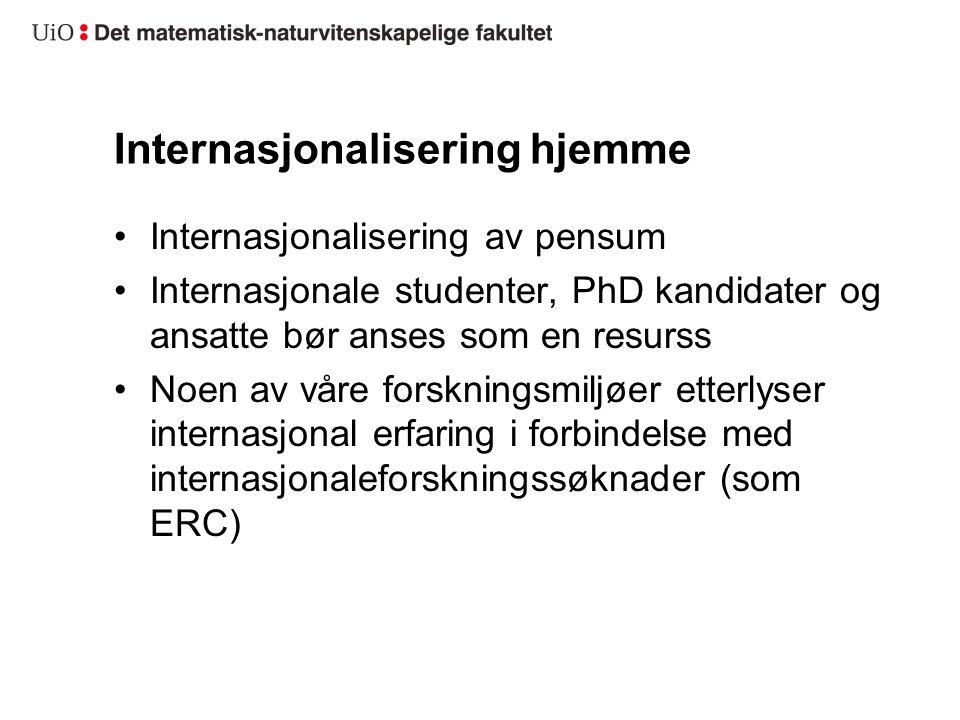 Internasjonalisering hjemme Internasjonalisering av pensum Internasjonale studenter, PhD kandidater og ansatte bør anses som en resurss Noen av våre f