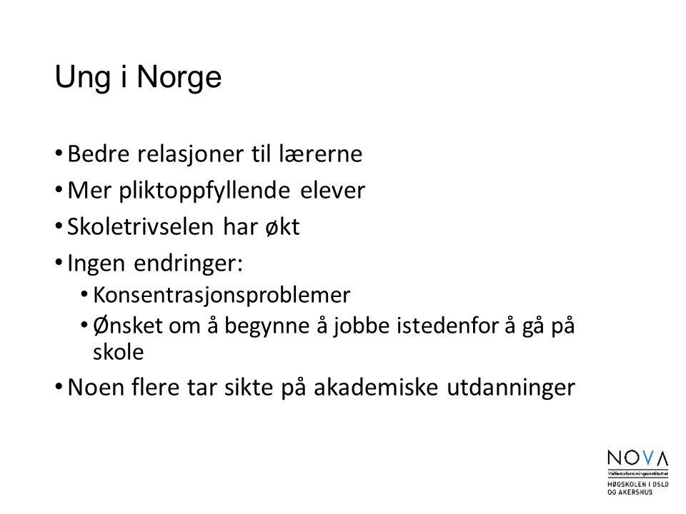 Ung i Norge Bedre relasjoner til lærerne Mer pliktoppfyllende elever Skoletrivselen har økt Ingen endringer: Konsentrasjonsproblemer Ønsket om å begyn