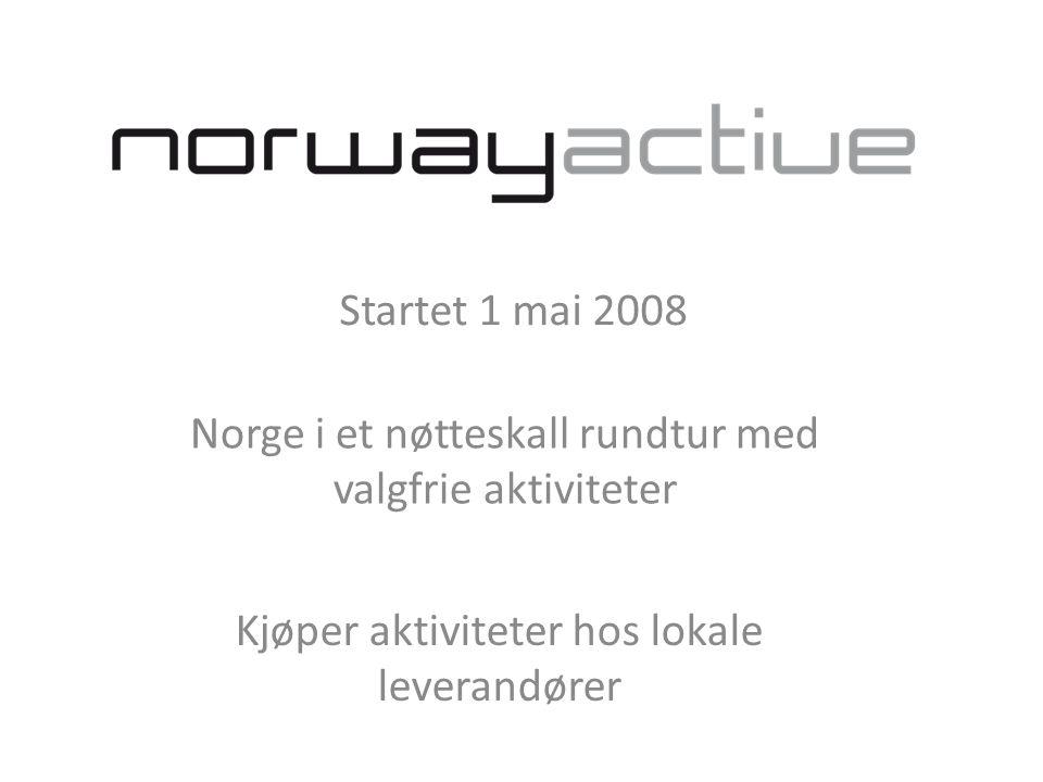 Startet 1 mai 2008 Norge i et nøtteskall rundtur med valgfrie aktiviteter Kjøper aktiviteter hos lokale leverandører