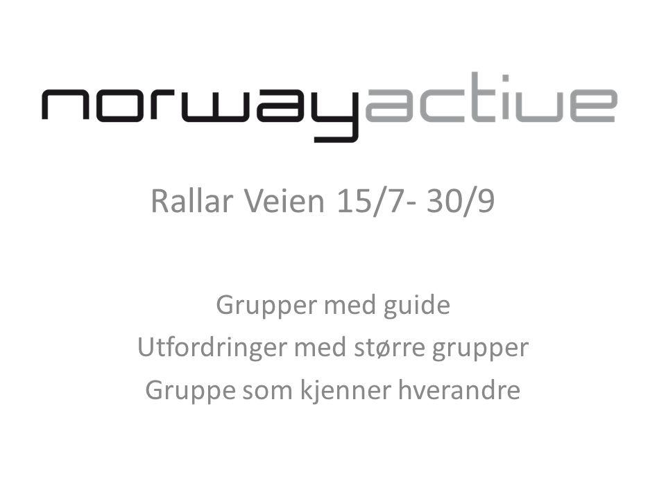 Rallar Veien 15/7- 30/9 Grupper med guide Utfordringer med større grupper Gruppe som kjenner hverandre