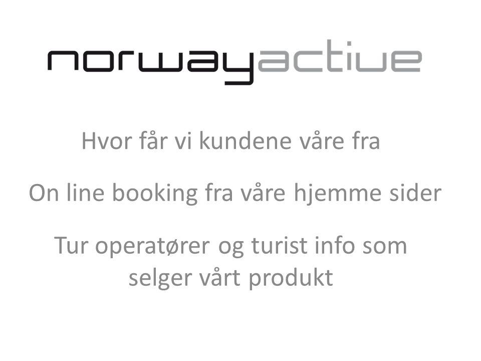 On line booking fra våre hjemme sider Tur operatører og turist info som selger vårt produkt Hvor får vi kundene våre fra