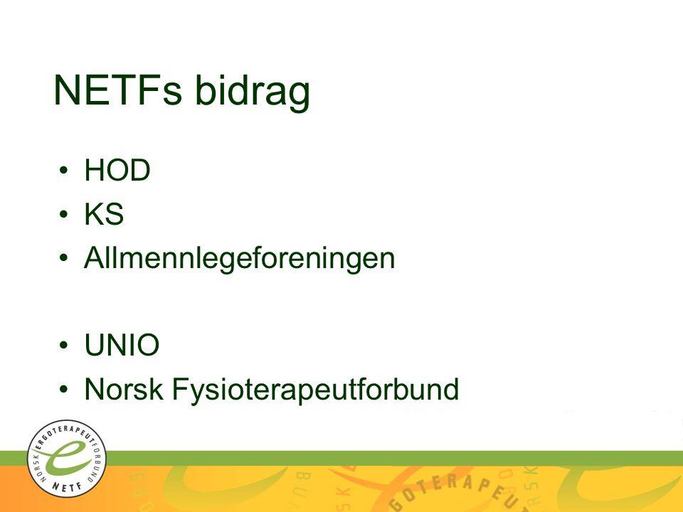 NETFs bidrag HOD KS Allmennlegeforeningen UNIO Norsk Fysioterapeutforbund