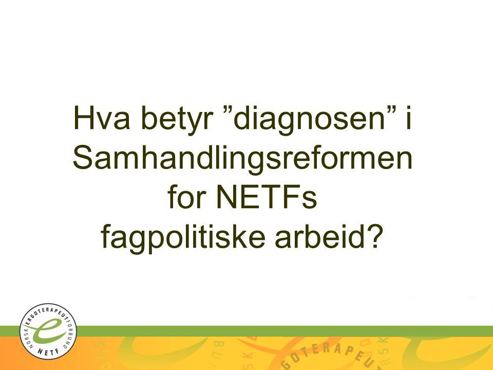"""Hva betyr """"diagnosen"""" i Samhandlingsreformen for NETFs fagpolitiske arbeid?"""