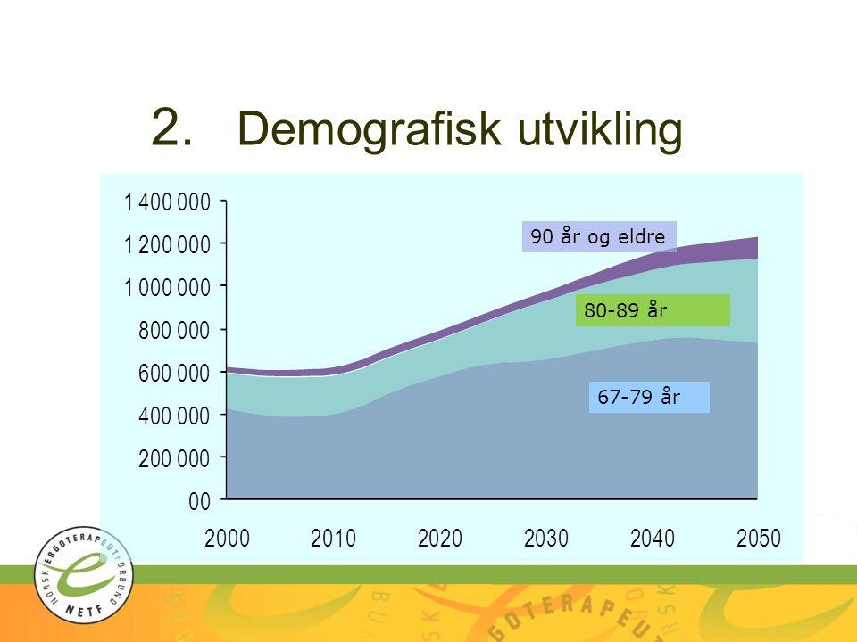 2. Demografisk utvikling 90 år og eldre 80-89 år 67-79 år