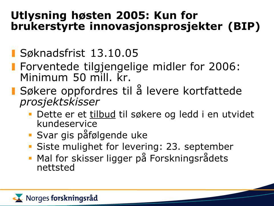 Utlysning høsten 2005: Kun for brukerstyrte innovasjonsprosjekter (BIP) Søknadsfrist 13.10.05 Forventede tilgjengelige midler for 2006: Minimum 50 mil