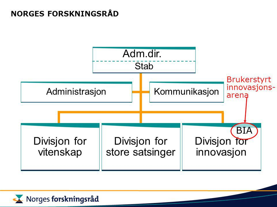 NORGES FORSKNINGSRÅD AdministrasjonKommunikasjon Divisjon for vitenskap Divisjon for innovasjon Divisjon for store satsinger Adm.dir. Stab BIA Brukers