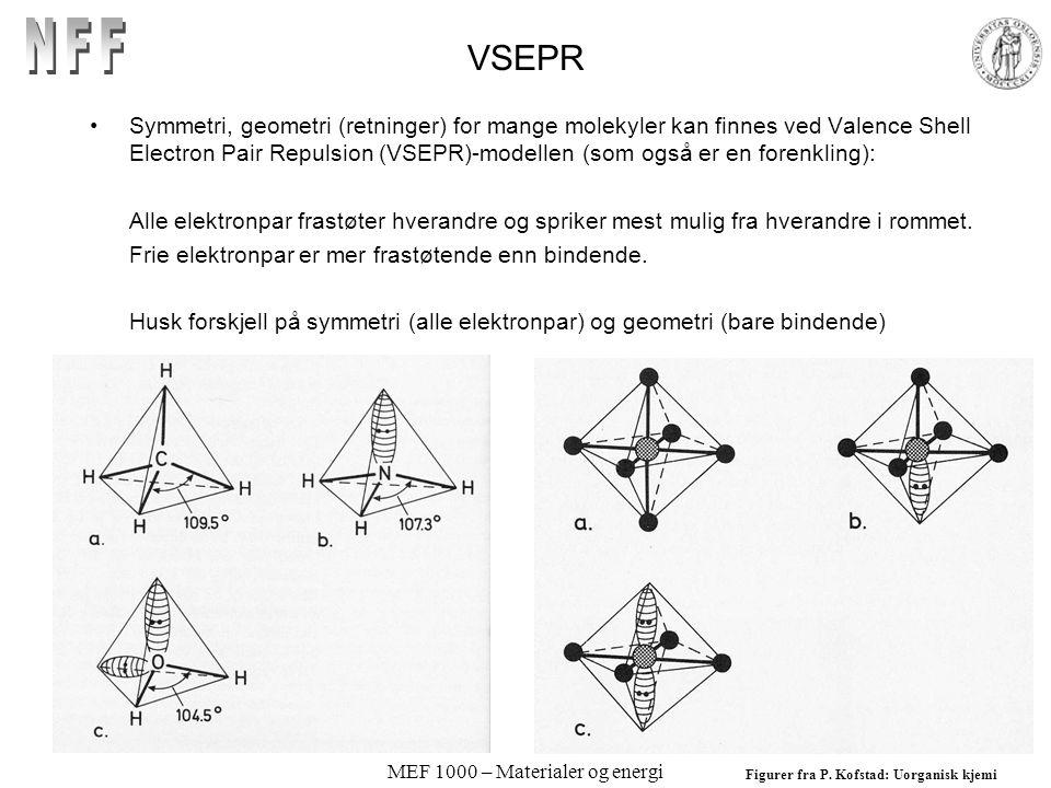 MEF 1000 – Materialer og energi VSEPR Symmetri, geometri (retninger) for mange molekyler kan finnes ved Valence Shell Electron Pair Repulsion (VSEPR)-modellen (som også er en forenkling): Alle elektronpar frastøter hverandre og spriker mest mulig fra hverandre i rommet.