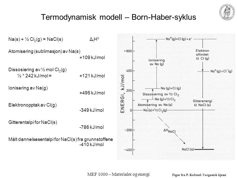 MEF 1000 – Materialer og energi Termodynamisk modell – Born-Haber-syklus Na(s) + ½ Cl 2 (g) = NaCl(s) Δ f H 0 Atomisering (sublimasjon) av Na(s) +109 kJ/mol Dissosiering av ½ mol Cl 2 (g) ½ * 242 kJ/mol =+121 kJ/mol Ionisering av Na(g) +495 kJ/mol Elektronopptak av Cl(g) -349 kJ/mol Gitterentalpi for NaCl(s) -786 kJ/mol Målt dannelsesentalpi for NaCl(s) fra grunnstoffene -410 kJ/mol Figur fra P.