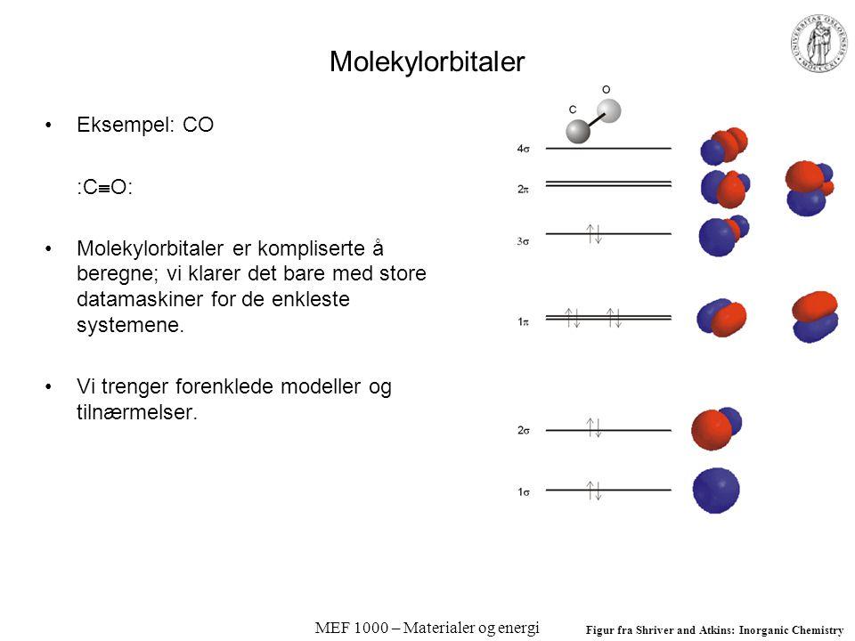 MEF 1000 – Materialer og energi Molekylorbitaler Eksempel: CO :C  O: Molekylorbitaler er kompliserte å beregne; vi klarer det bare med store datamaskiner for de enkleste systemene.