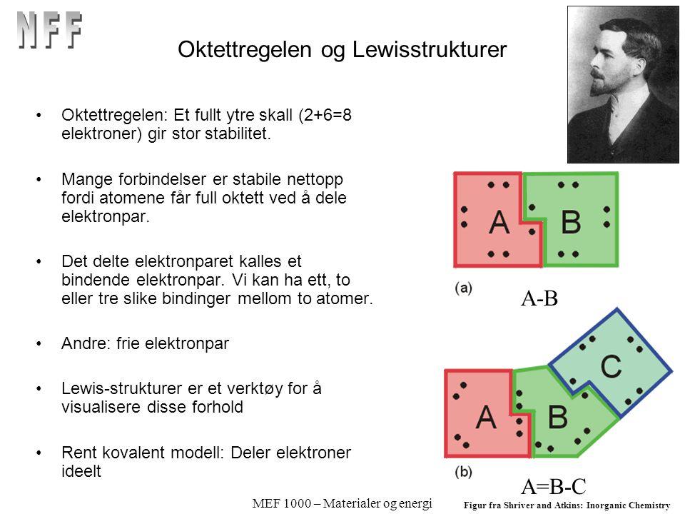 MEF 1000 – Materialer og energi Oktettregelen og Lewisstrukturer Oktettregelen: Et fullt ytre skall (2+6=8 elektroner) gir stor stabilitet.