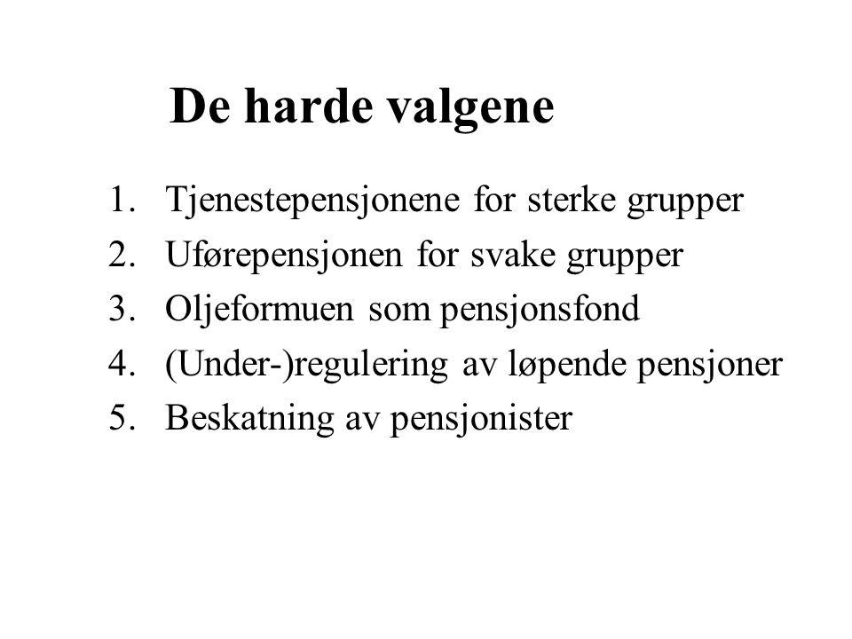 De harde valgene 1.Tjenestepensjonene for sterke grupper 2.Uførepensjonen for svake grupper 3.Oljeformuen som pensjonsfond 4.(Under-)regulering av løpende pensjoner 5.Beskatning av pensjonister