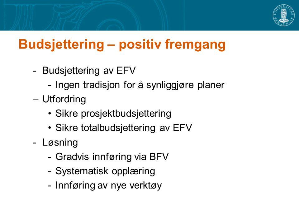 Budsjettering – positiv fremgang -Budsjettering av EFV -Ingen tradisjon for å synliggjøre planer –Utfordring Sikre prosjektbudsjettering Sikre totalbudsjettering av EFV -Løsning -Gradvis innføring via BFV -Systematisk opplæring -Innføring av nye verktøy