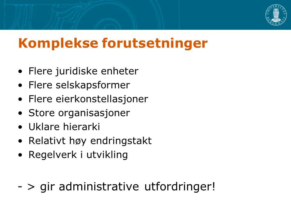 Rapportering - løsninger - Regnskap –UiB kontraktspart når UiB tilsatte er involvert.