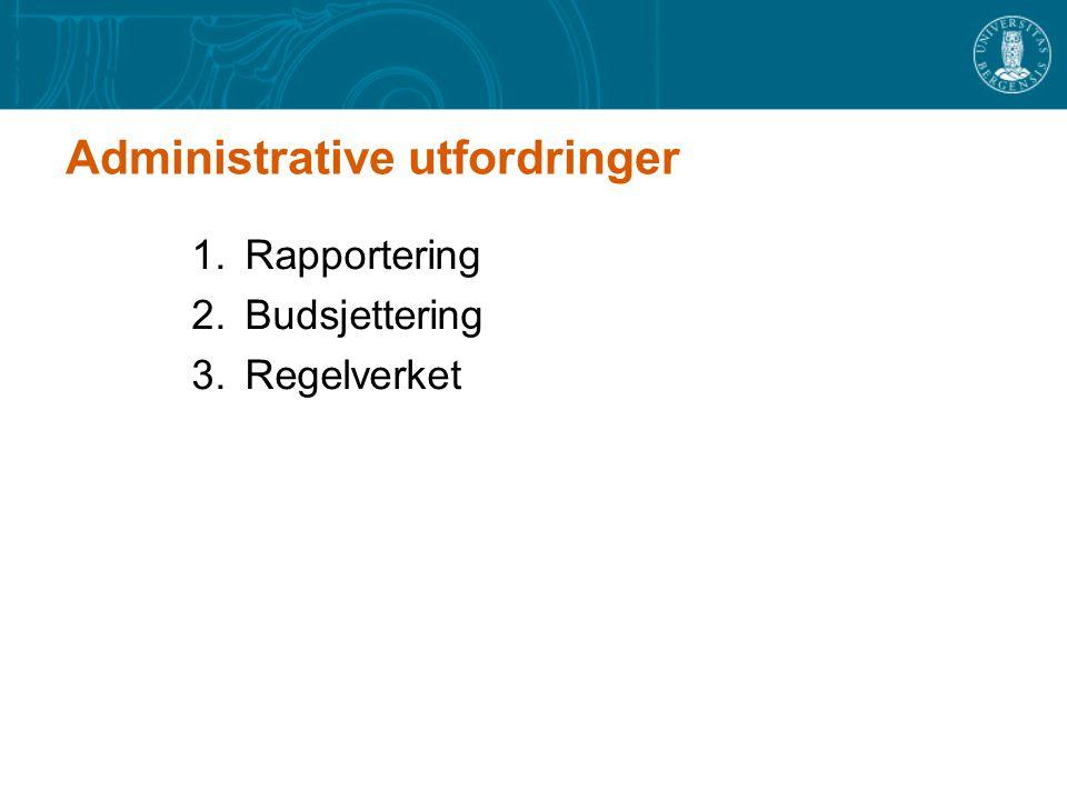 Administrative utfordringer 1.Rapportering 2.Budsjettering 3.Regelverket