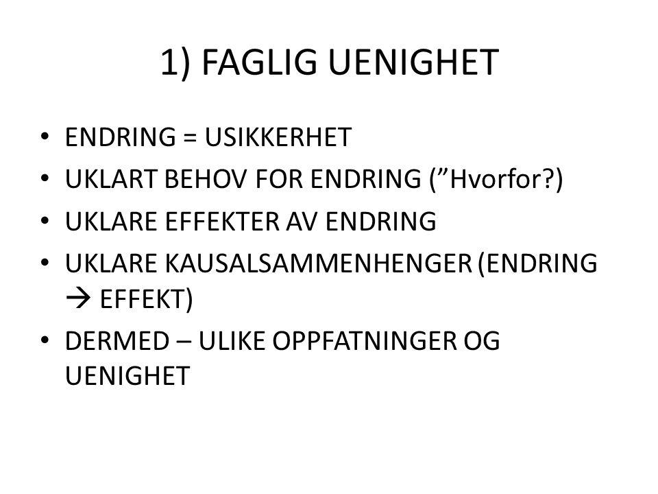 """1) FAGLIG UENIGHET ENDRING = USIKKERHET UKLART BEHOV FOR ENDRING (""""Hvorfor?) UKLARE EFFEKTER AV ENDRING UKLARE KAUSALSAMMENHENGER (ENDRING  EFFEKT) D"""
