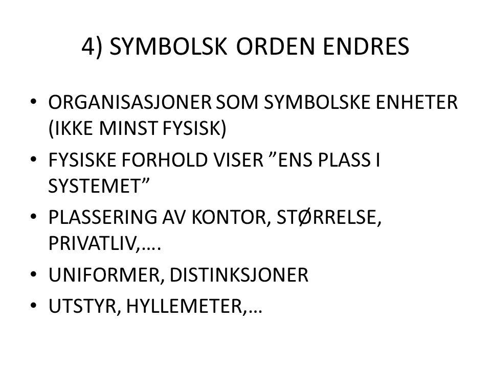 """4) SYMBOLSK ORDEN ENDRES ORGANISASJONER SOM SYMBOLSKE ENHETER (IKKE MINST FYSISK) FYSISKE FORHOLD VISER """"ENS PLASS I SYSTEMET"""" PLASSERING AV KONTOR, S"""