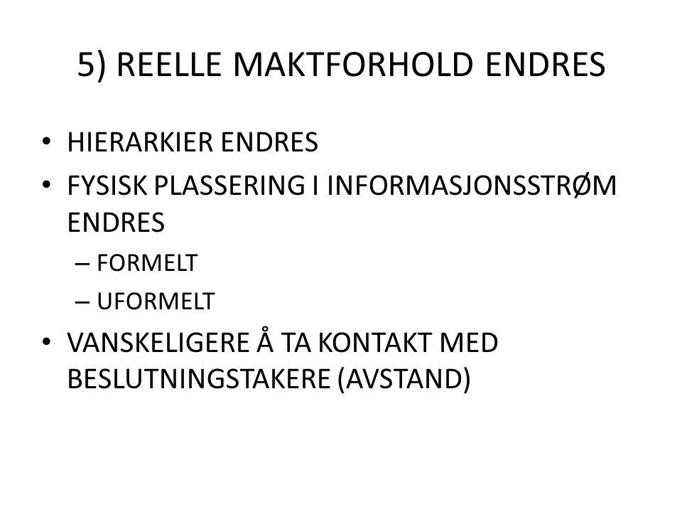 5) REELLE MAKTFORHOLD ENDRES HIERARKIER ENDRES FYSISK PLASSERING I INFORMASJONSSTRØM ENDRES – FORMELT – UFORMELT VANSKELIGERE Å TA KONTAKT MED BESLUTN