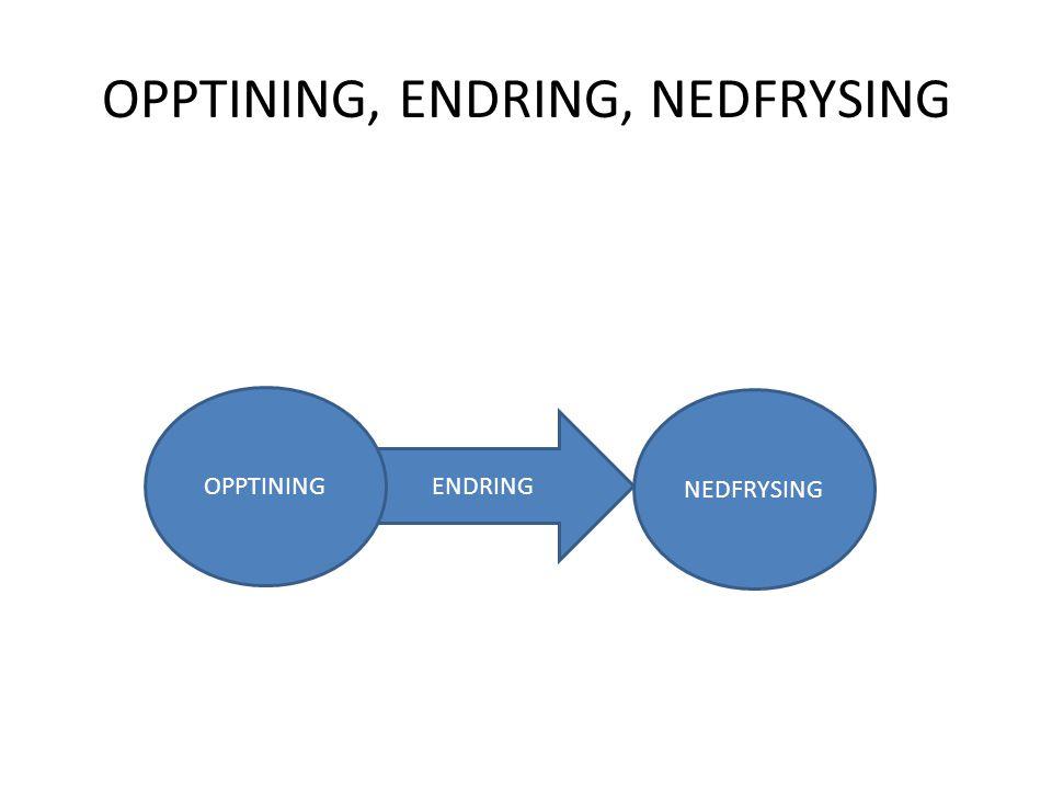 ENDRING OPPTINING, ENDRING, NEDFRYSING OPPTINING NEDFRYSING