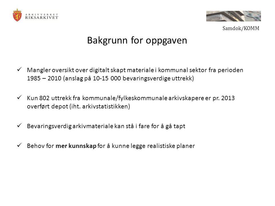 Bakgrunn for oppgaven Mangler oversikt over digitalt skapt materiale i kommunal sektor fra perioden 1985 – 2010 (anslag på 10-15 000 bevaringsverdige uttrekk) Kun 802 uttrekk fra kommunale/fylkeskommunale arkivskapere er pr.
