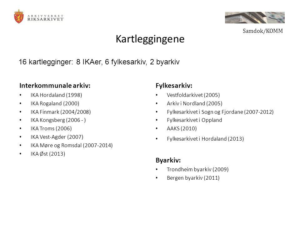 Kartleggingene Interkommunale arkiv: IKA Hordaland (1998) IKA Rogaland (2000) IKA Finmark (2004/2008) IKA Kongsberg (2006 - ) IKA Troms (2006) IKA Vest-Agder (2007) IKA Møre og Romsdal (2007-2014) IKA Øst (2013) Fylkesarkiv: Vestfoldarkivet (2005) Arkiv i Nordland (2005) Fylkesarkivet i Sogn og Fjordane (2007-2012) Fylkesarkivet i Oppland AAKS (2010) Fylkesarkivet i Hordaland (2013) Byarkiv: Trondheim byarkiv (2009) Bergen byarkiv (2011) Samdok/KOMM 16 kartlegginger: 8 IKAer, 6 fylkesarkiv, 2 byarkiv