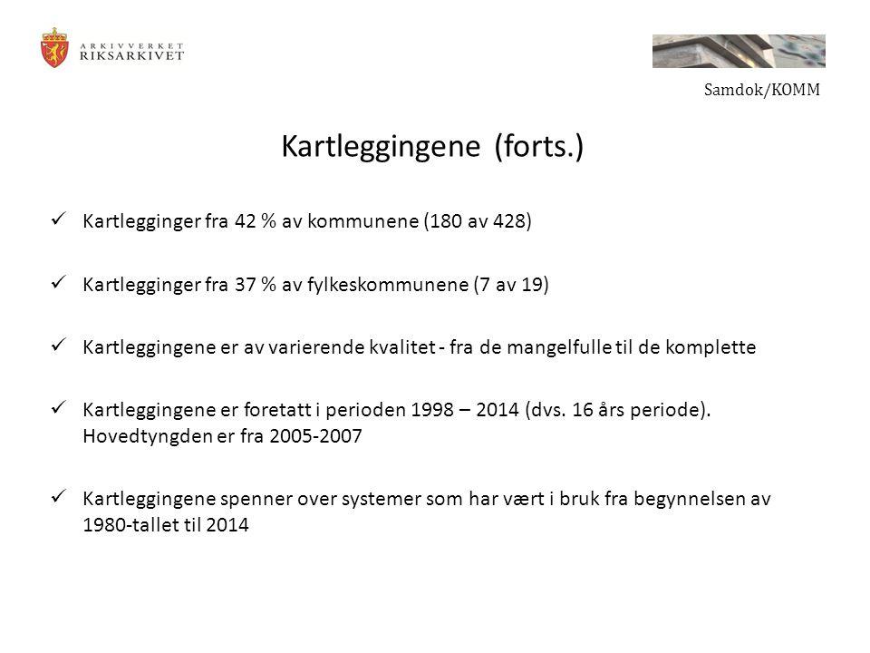 Kartleggingene (forts.) Kartlegginger fra 42 % av kommunene (180 av 428) Kartlegginger fra 37 % av fylkeskommunene (7 av 19) Kartleggingene er av varierende kvalitet - fra de mangelfulle til de komplette Kartleggingene er foretatt i perioden 1998 – 2014 (dvs.