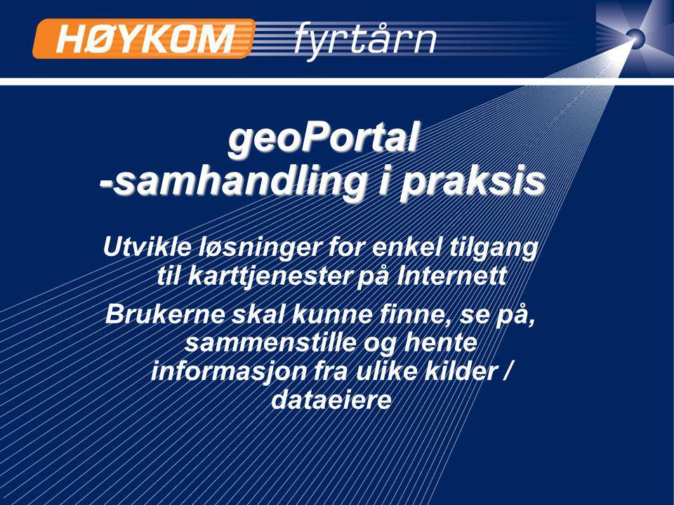 geoPortal -samhandling i praksis Utvikle løsninger for enkel tilgang til karttjenester på Internett Brukerne skal kunne finne, se på, sammenstille og