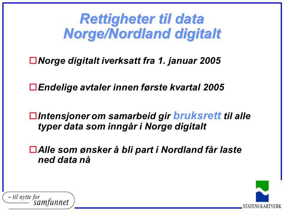 Rettigheter til data Norge/Nordland digitalt oNorge digitalt iverksatt fra 1. januar 2005 oEndelige avtaler innen første kvartal 2005 oIntensjoner om