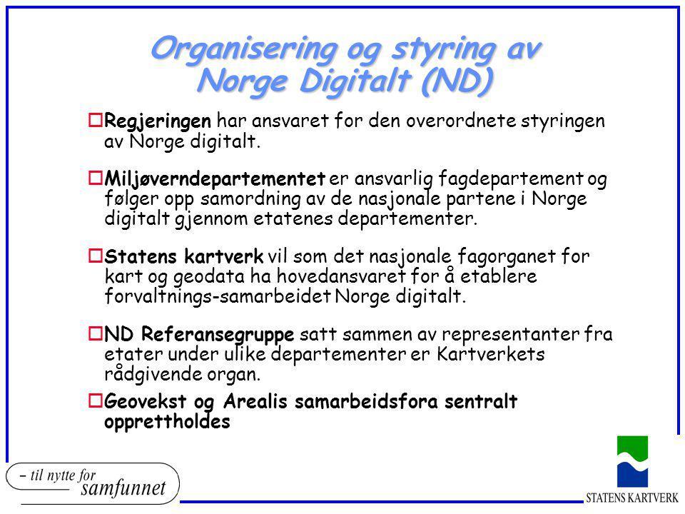 Organisering og styring av Norge Digitalt (ND) oRegjeringen har ansvaret for den overordnete styringen av Norge digitalt. oMiljøverndepartementet er a
