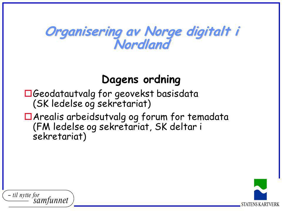 Organisering av Norge digitalt i Nordland Dagens ordning oGeodatautvalg for geovekst basisdata (SK ledelse og sekretariat) oArealis arbeidsutvalg og f