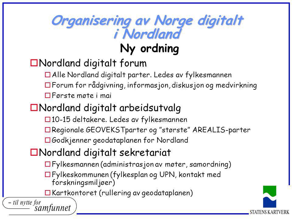 Organisering av Norge digitalt i Nordland Ny ordning oNordland digitalt forum oAlle Nordland digitalt parter. Ledes av fylkesmannen oForum for rådgivn