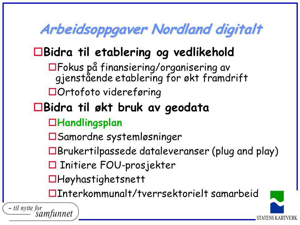 Arbeidsoppgaver Nordland digitalt oBidra til etablering og vedlikehold oFokus på finansiering/organisering av gjenstående etablering for økt framdrift