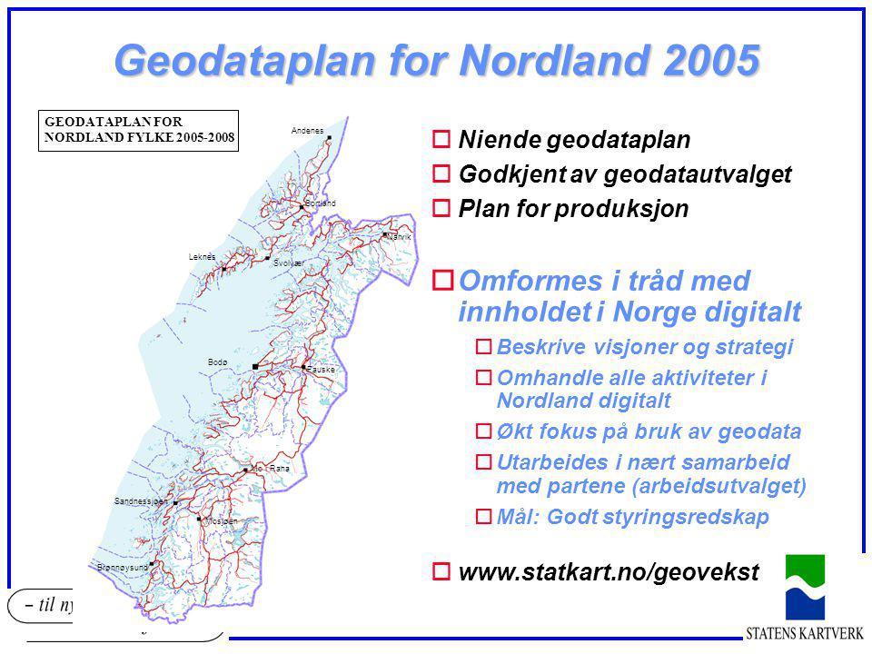 Geodataplan for Nordland 2005 oNiende geodataplan oGodkjent av geodatautvalget oPlan for produksjon oOmformes i tråd med innholdet i Norge digitalt oB