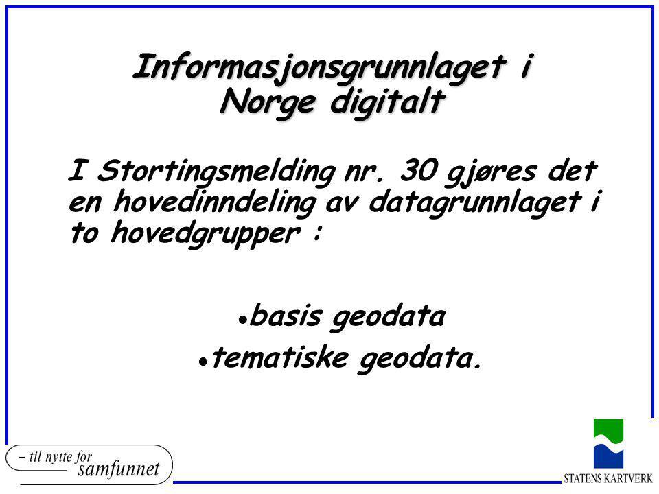 Informasjonsgrunnlaget i Norge digitalt I Stortingsmelding nr. 30 gjøres det en hovedinndeling av datagrunnlaget i to hovedgrupper : l basis geodata t