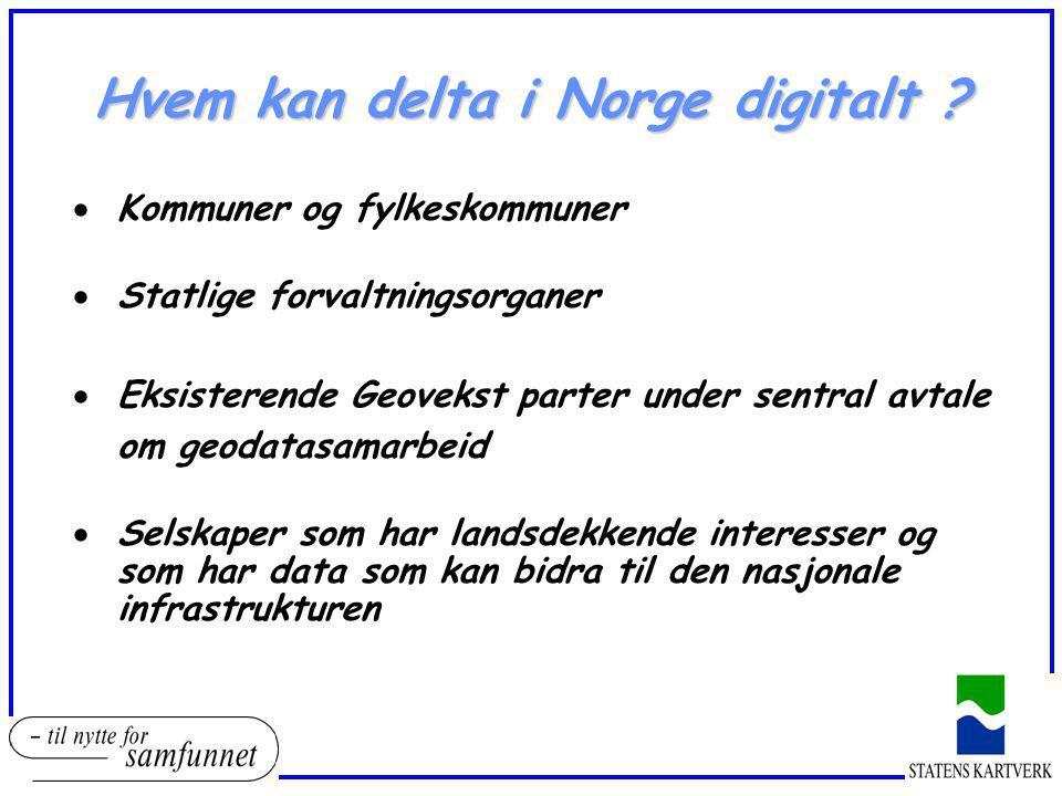 Hvem kan delta i Norge digitalt ?  Kommuner og fylkeskommuner  Statlige forvaltningsorganer  Eksisterende Geovekst parter under sentral avtale om g