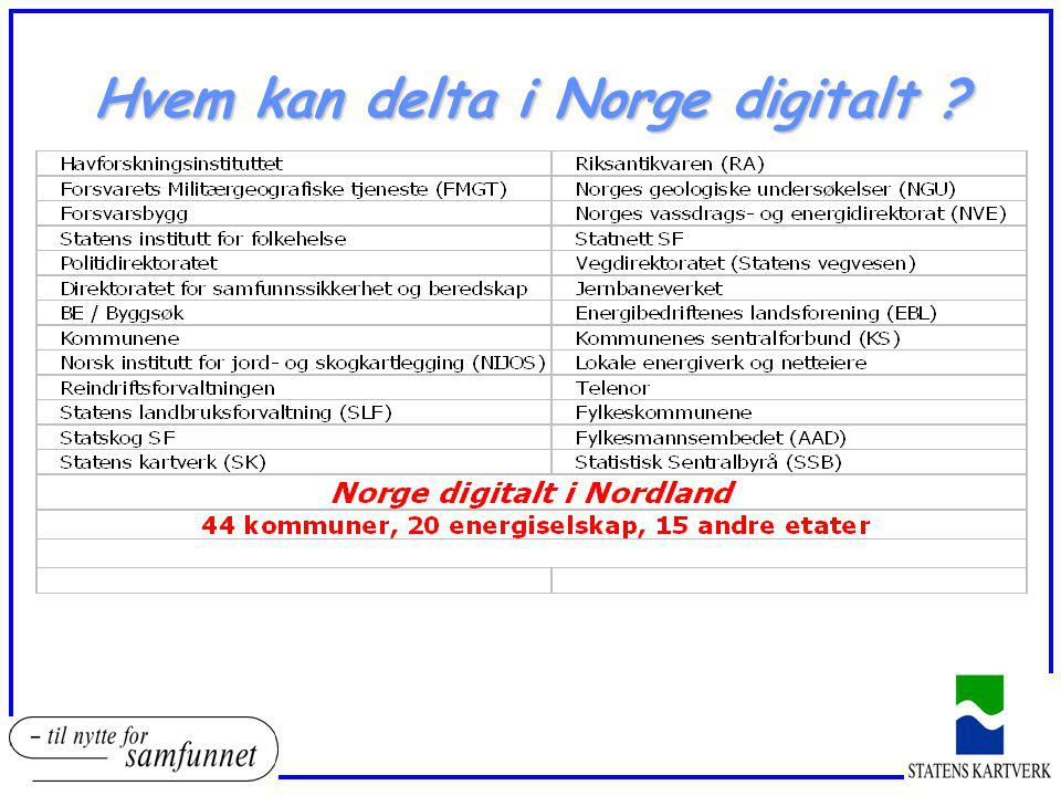 Finansiering i Norge digitalt  Den enkelte part må binde seg til en todelt løsning, som innebærer :  en andelsfinansiering av basis geodata  en plikt til leveranse av egen temainformasjon  Sk har i dialog med noen samarbeidsparter arbeidet med modeller for finansiering :  hovedprinsipp for den enkelte parts andelsfinansiering må baseres på en kost/nytte-vurdering  enkle modeller med fri tilgang til alle data for alle…  gruppering av parter (3-4 grupper) med fastsatte årlige kostnader
