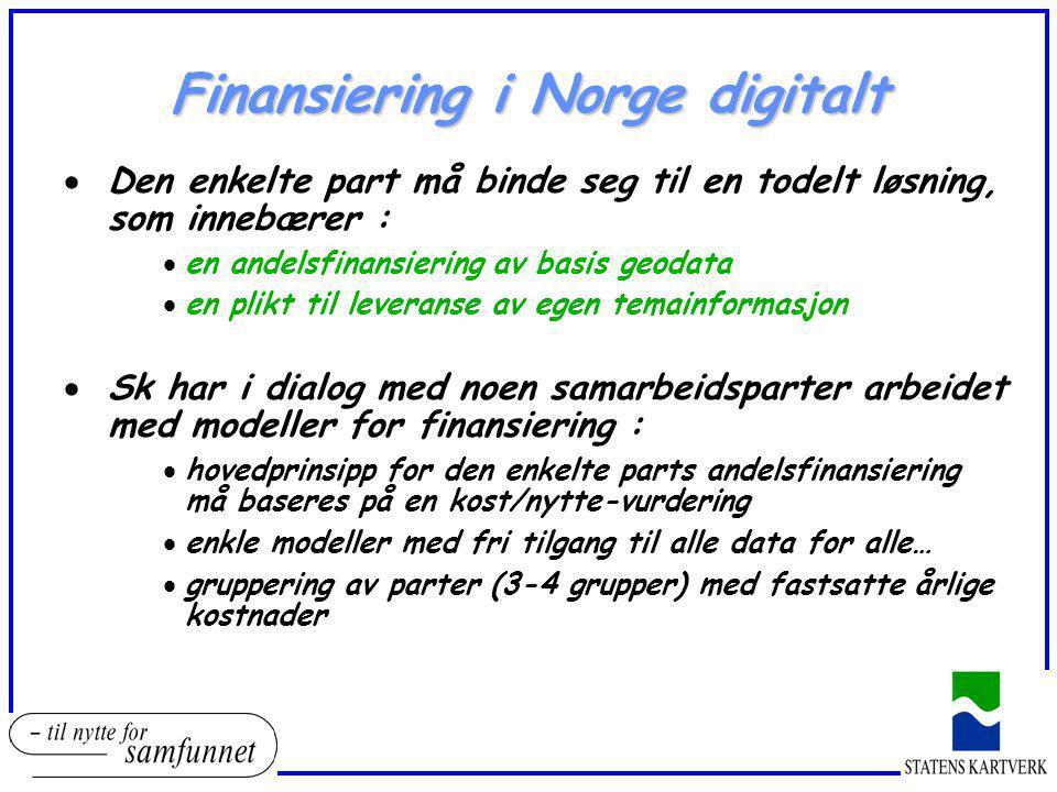 Finansiering i Norge digitalt  Den enkelte part må binde seg til en todelt løsning, som innebærer :  en andelsfinansiering av basis geodata  en pli