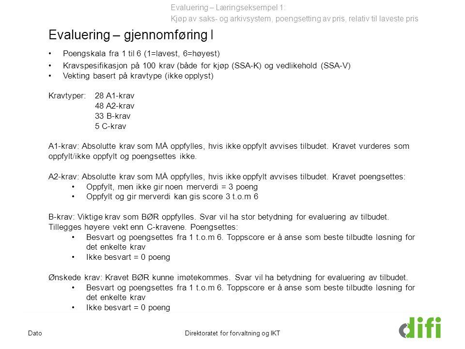 DatoDirektoratet for forvaltning og IKT Evaluering – Læringseksempel 1: Kjøp av saks- og arkivsystem, poengsetting av pris, relativ til laveste pris Evaluering – gjennomføring I Poengskala fra 1 til 6 (1=lavest, 6=høyest) Kravspesifikasjon på 100 krav (både for kjøp (SSA-K) og vedlikehold (SSA-V) Vekting basert på kravtype (ikke opplyst) Kravtyper:28 A1-krav 48 A2-krav 33 B-krav 5 C-krav A1-krav: Absolutte krav som MÅ oppfylles, hvis ikke oppfylt avvises tilbudet.