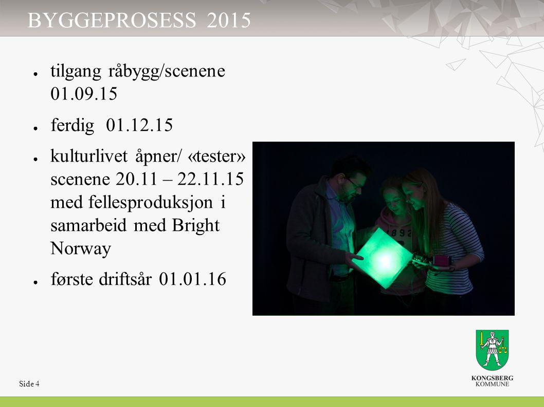 BYGGEPROSESS 2015 ● tilgang råbygg/scenene 01.09.15 ● ferdig 01.12.15 ● kulturlivet åpner/ «tester» scenene 20.11 – 22.11.15 med fellesproduksjon i sa